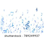 blue flying musical notes...   Shutterstock .eps vector #789249937