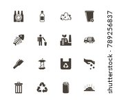 garbage icons. perfect black... | Shutterstock .eps vector #789256837