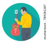 guitarist flat colored icon  | Shutterstock .eps vector #789281287