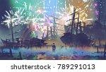 man standing on the beach... | Shutterstock . vector #789291013