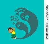 little boy can not sleep... | Shutterstock .eps vector #789298087