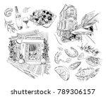 national greek cuisine. cafe ...   Shutterstock .eps vector #789306157