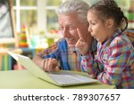 grandfather and granddaughter... | Shutterstock . vector #789307657