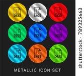css file format symbol 9 color... | Shutterstock .eps vector #789325663