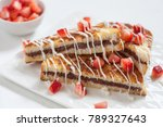 french toasts with hazelnut... | Shutterstock . vector #789327643