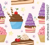 seamless pattern of cute cakes... | Shutterstock .eps vector #789346027