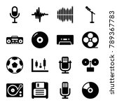 record icons. set of 16... | Shutterstock .eps vector #789367783