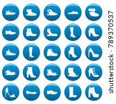 footwear shoes icons set blue....   Shutterstock .eps vector #789370537