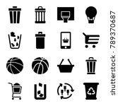 basket icons. set of 16... | Shutterstock .eps vector #789370687