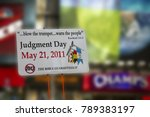 Small photo of New York City, NY - 07-05-2011: Posters at Times Square announce May 21st, 2011 as final judgement day, allegedly prophecied by the Bible