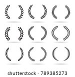 set of black laurel wreaths... | Shutterstock .eps vector #789385273