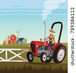 red tractor and driver on ... | Shutterstock .eps vector #789386113