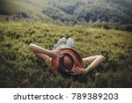 stylish traveler woman in hat... | Shutterstock . vector #789389203