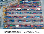 containers yard shot from drone ... | Shutterstock . vector #789389713