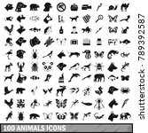 100 Animals Icons Set In Simpl...