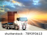 truck run on road ... | Shutterstock . vector #789393613