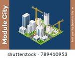 module isometric city of houses | Shutterstock .eps vector #789410953