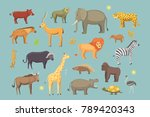african animals cartoon set.... | Shutterstock . vector #789420343