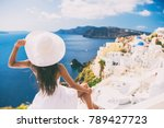 tourist woman at view of... | Shutterstock . vector #789427723