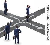 young businessman at crossroads ... | Shutterstock . vector #789435367