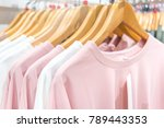 clothes on clothes rail in... | Shutterstock . vector #789443353