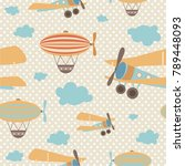 seamless pattern with air... | Shutterstock .eps vector #789448093