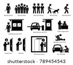 security guards icons. stick... | Shutterstock .eps vector #789454543