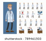 doctor man set. poses and... | Shutterstock .eps vector #789461503