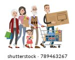 isolated family shopping at... | Shutterstock .eps vector #789463267