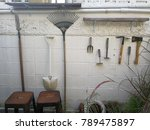 garden tools hanging on the... | Shutterstock . vector #789475897