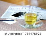 cup of green tea hot on the... | Shutterstock . vector #789476923