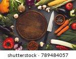 border of fresh vegetables on... | Shutterstock . vector #789484057