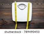lose weight concept. scale and... | Shutterstock . vector #789490453