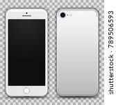 realistic white smartphone with ... | Shutterstock .eps vector #789506593