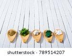 herbal leaves  ground herb... | Shutterstock . vector #789514207
