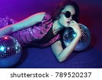 sexy disco party woman.... | Shutterstock . vector #789520237