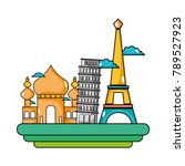 taj mahal and leaning tower of...   Shutterstock .eps vector #789527923