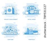 modern flat color line concept... | Shutterstock .eps vector #789531127