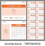 calendar for 2018 year. design... | Shutterstock .eps vector #789560503