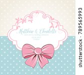 cute wedding invitation with... | Shutterstock .eps vector #789565993