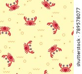 Seamless Pattern With Crabs On...
