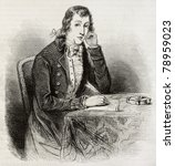Small photo of Old engraved portrait of Alexander Wilson, poet, naturalist, ornithologist. Created by Paquet after American engraving of unidentified author. Published on Magasin Pittoresque, Paris, 1850