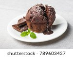 sweet muffin cake with melted...   Shutterstock . vector #789603427