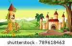 scene with princess in the... | Shutterstock .eps vector #789618463