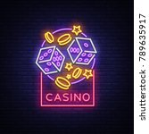 casino is a neon sign. neon... | Shutterstock .eps vector #789635917