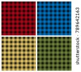 vector set of umberjack plaid... | Shutterstock .eps vector #789642163