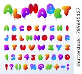 balloon alphabet vector... | Shutterstock .eps vector #789645127