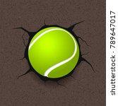 tennis ball over cracked... | Shutterstock .eps vector #789647017