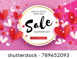 happy valentine's day. sale... | Shutterstock .eps vector #789652093