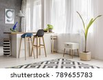 simple dining area with tall... | Shutterstock . vector #789655783
